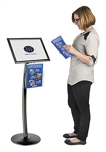 "Floor Standing 17"" x 11"" Black Sign Display with Magazine Tray"