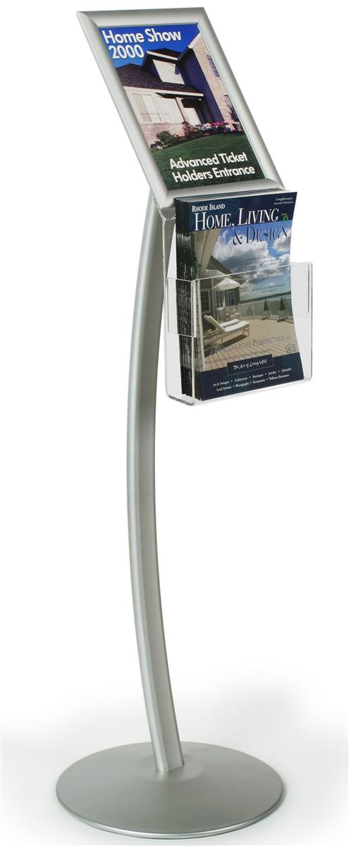 Display sign stand with pocket for brochure distribution for Plastic flyer stand