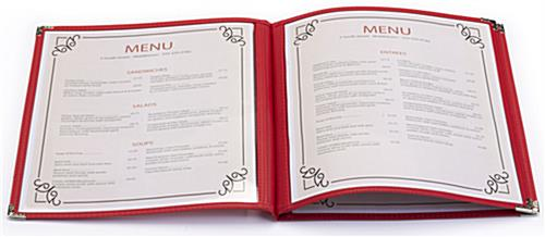 "Book Style Red 8.5"" x 11"" (3) Page Restaurant Menu Covers"