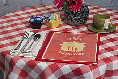 "Red 8.5"" x 11"" (3) Page Restaurant Menu Covers with 6 Views"