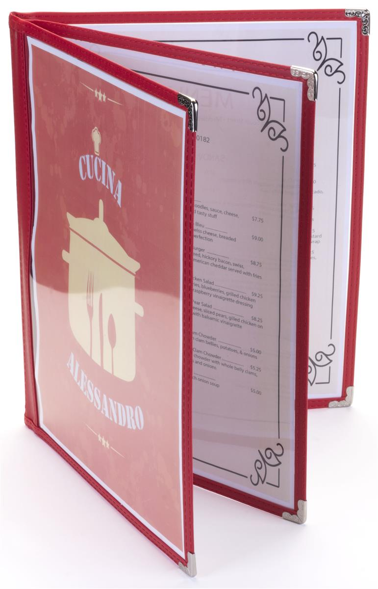Red 8 5 X 11 3 Page Restaurant Menu Covers
