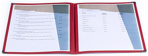 "Leatherette Red 8.5"" x 11"" (2) Panel Menu Covers"