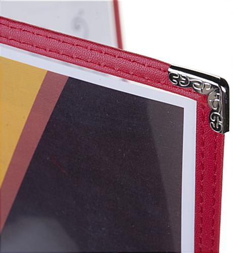 "Red 8.5"" x 11"" (2) Panel Menu Covers Silver Corners"