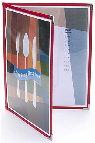"4 View Red 8.5"" x 11"" (2) Panel Menu Covers"