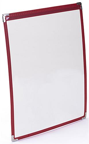 "Red 8.5"" x 11"" Single Panel Wine List Cover Double Sided"