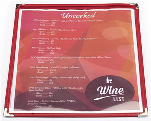 "Red 8.5"" x 11"" Single Panel Wine List Cover Leatherette"