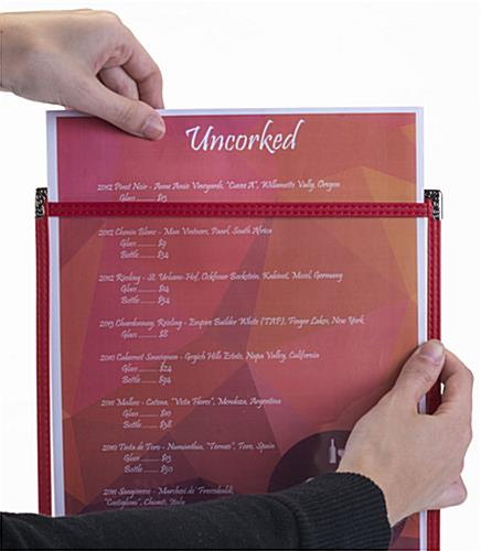 "Red 8.5"" x 11"" Single Panel Wine List Cover with 2 Views"