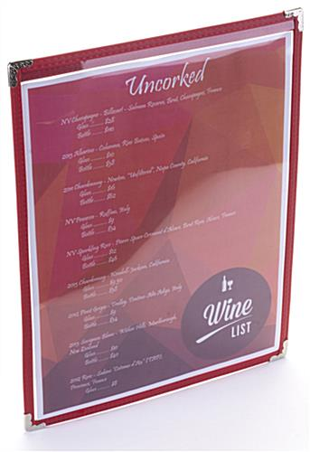 "Red 8.5"" x 11"" Single Panel Wine List Cover Clear Protector"