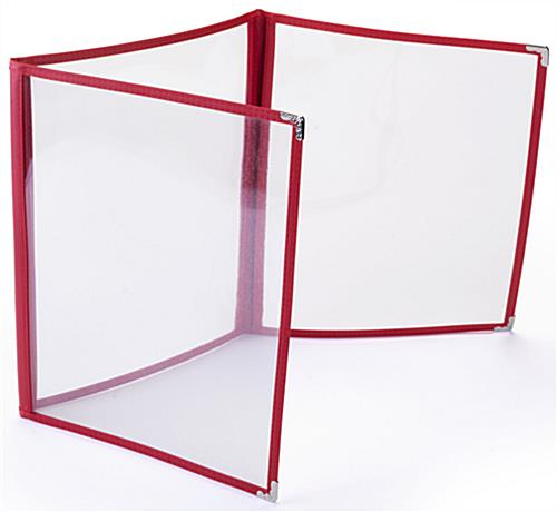 "Tri Fold Red 8.5"" x 11"" (3) Panel Clear Menu Covers"