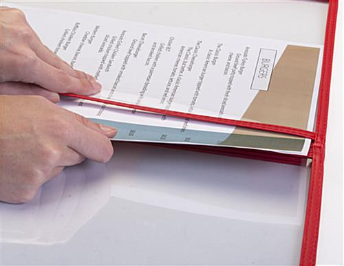 "Red 8.5"" x 11"" (3) Panel Clear Menu Covers Side Loading"