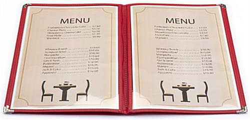 "Leatherette Red 8.5"" x 14"" (4) Page Menu Cover"