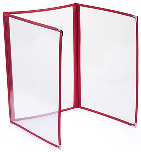 "Fold Out Red 8.5"" x 14"" (3) Panel Clear Menu Covers"