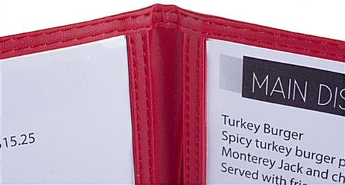 "Leatherette Red 8.5"" x 14"" (3) Panel Clear Menu Covers"