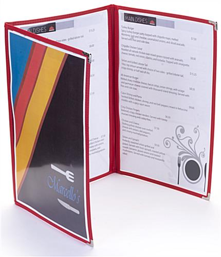 "Red 8.5"" x 14"" (3) Panel Clear Menu Covers with 6 Views"