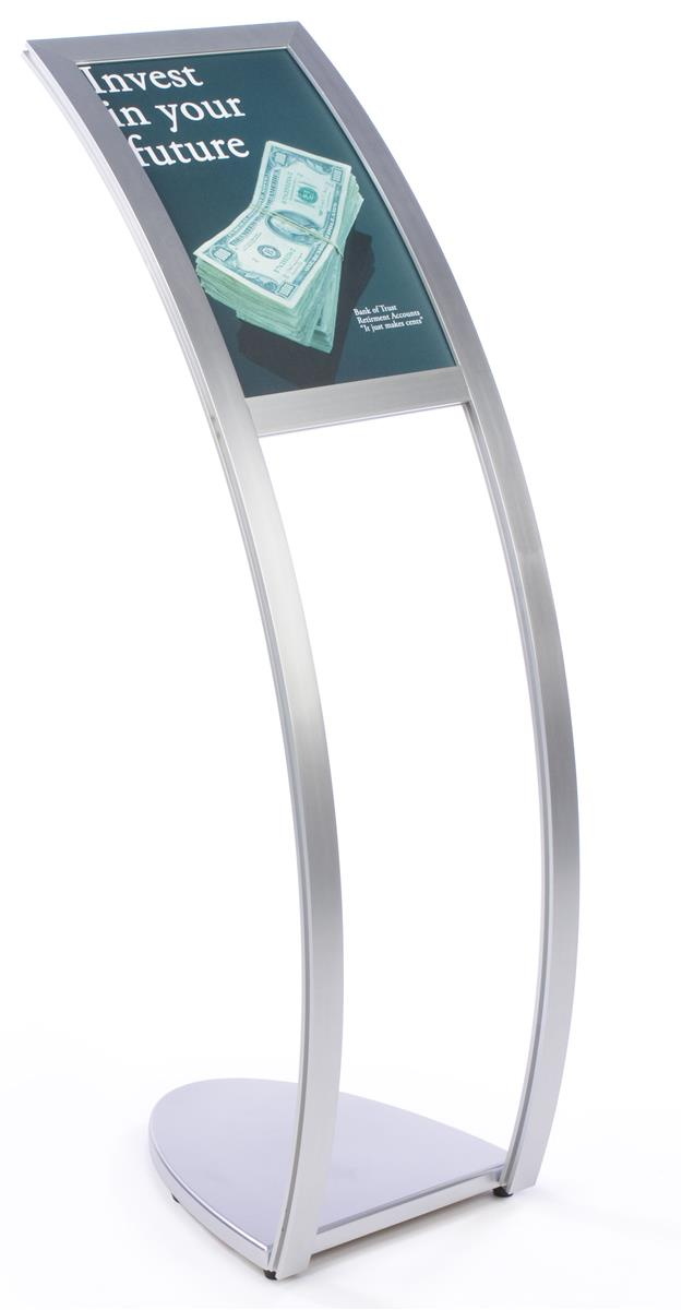 Curved Pole Metal Sign Frame Silver Finish Portrait Format