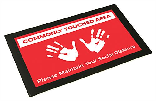 Social distancing countertop mat with pre-printed graphic
