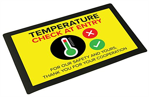 Temperature station counter mat signage with pre-printed graphic