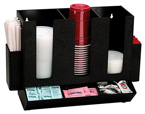 cup and lid holder organizer for sugar packets and cups