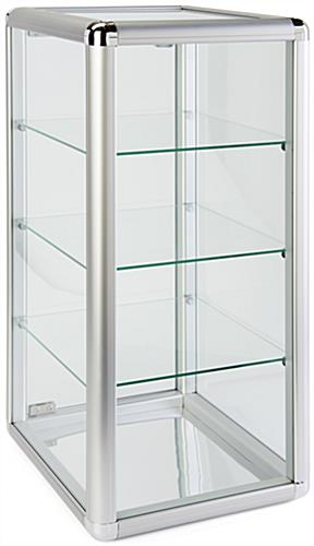 Aluminum Countertop Display Case with Mirrored Bottom