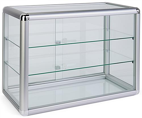 Tempered Glass Countertop Showcase with Sliding Doors