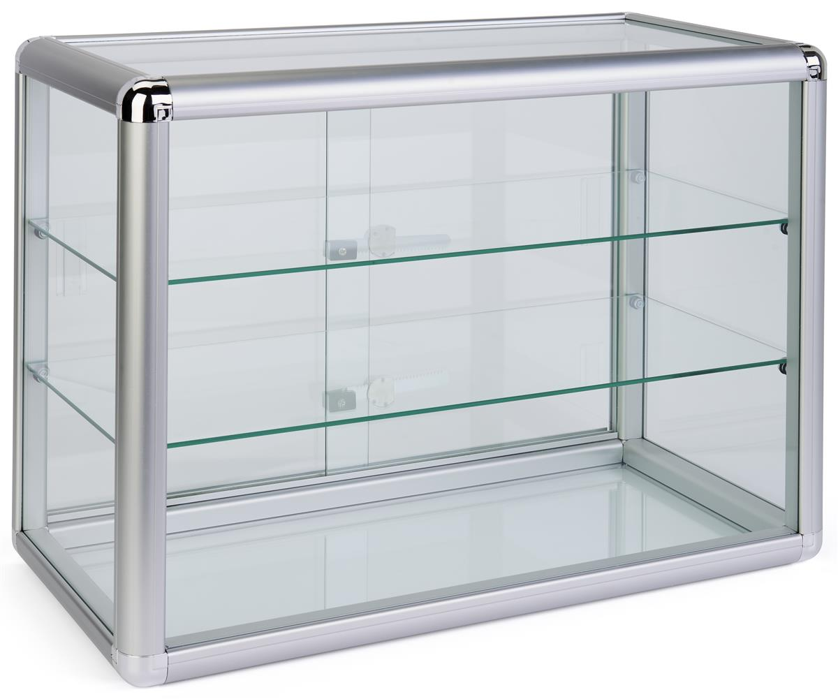 Tempered glass countertop showcase lockable sliding doors for Tempered glass countertop