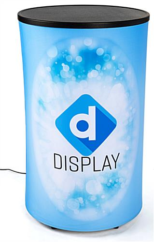 Tension fabric print with silicone edge on round backlit inflatable counter