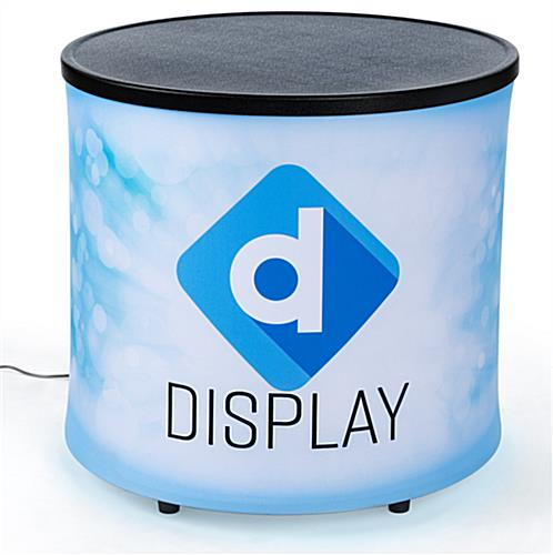 Small round backlit inflatable mini counter with full color custom print fabric