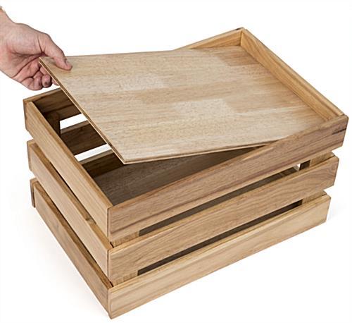 Wood box false bottom