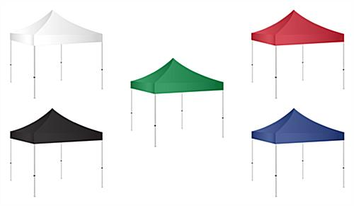 5x5 pop up tent with five different polyester color options