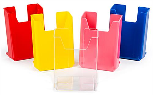 Acrylic flyer holders are a colorful addition to your business's countertop