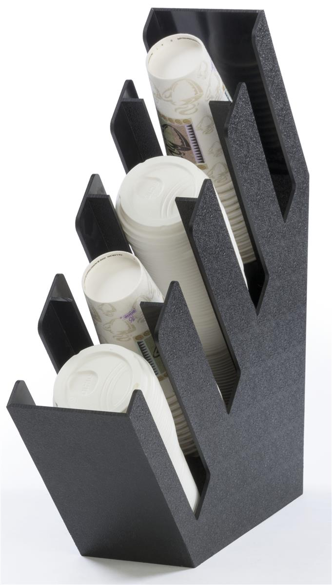 Displays2go Cup & Lid Organizer, 4 Compartments, Tabletop...