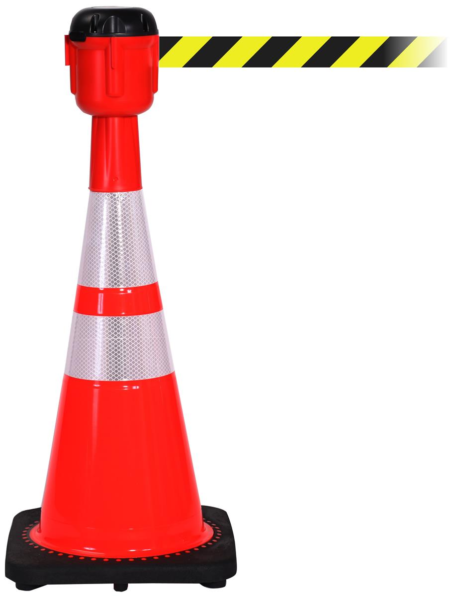 Stanchions For Sale >> Traffic Cone with 15' Belt | Diagonal Stripe Design