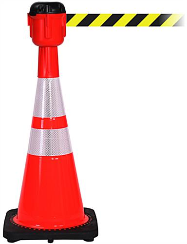 Traffic Cone with 30' Barrier Belt, PVC Material