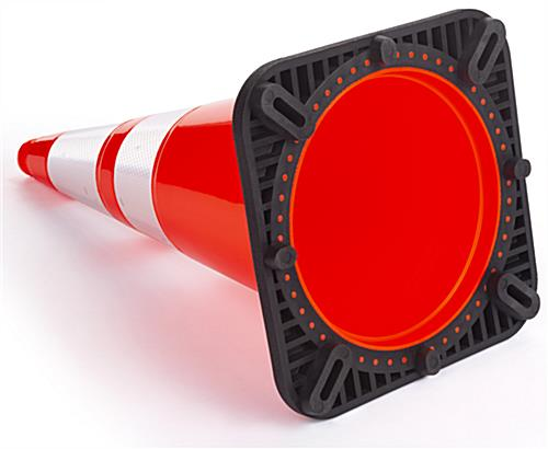 Orange traffic cone with rubber base