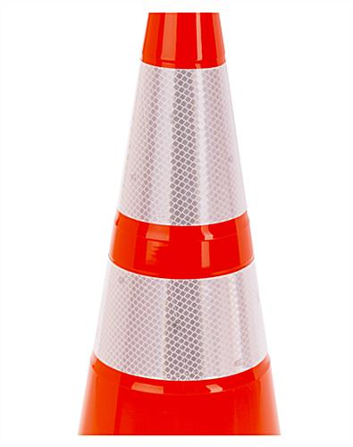 Orange traffic cone with high visibility reflective tape