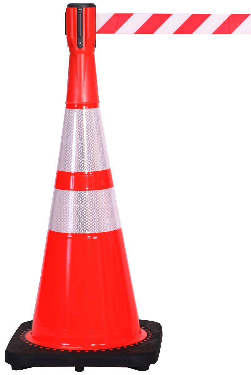 Stanchions For Sale >> Traffic Cone with Mounted Barrier   Nylon Belt