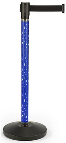 Holiday printed stanchion with blue snowflake graphic