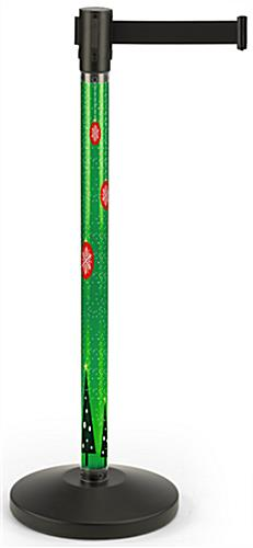 Seasonal printed stanchion with green snowflake insert