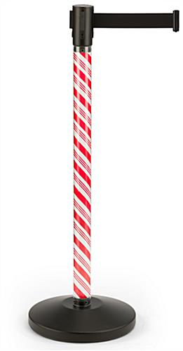 Holiday stanchion with candy cane insert