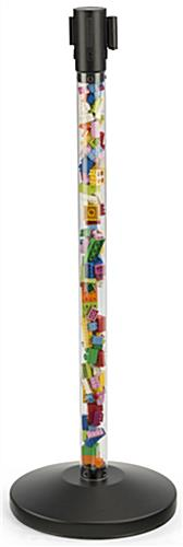 Fillable Clear Stanchion with Red Belt Holds Toys for Kids