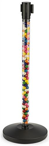 Fillable Clear Stanchion with Black Belt, Can Hold Candy