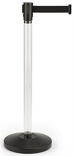 Fillable Clear Stanchion with Black Belt, Plastic