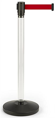 Fillable Clear Stanchion with Red Belt for Crowd Control