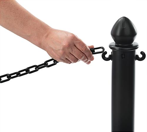 Black Plastic Chain Stanchions with C-Hooks