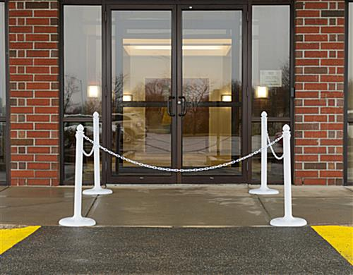 White Plastic Chain Rope Stanchions with Acorn Tops