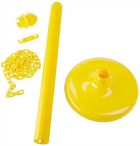 Yellow Plastic Post Stanchions with 6.5' Chain