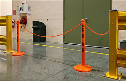 Orange Stanchion Safety Post & Chain Kit with Acorn Tops