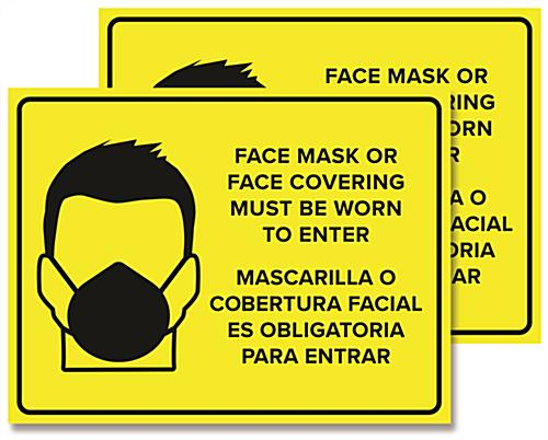 Bilingual Please Wear Face Mask social distancing signage with 24 inch by 18 inch dimensions