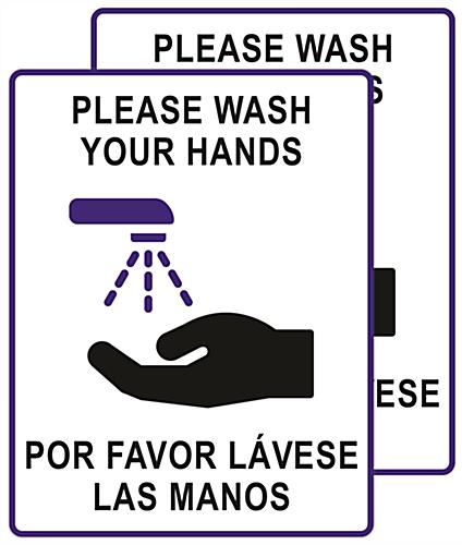 Bilingual handwashing posters with pre-printed graphics