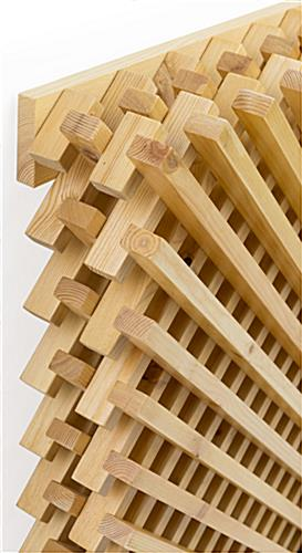 Natural designer wood lattice slatwall display